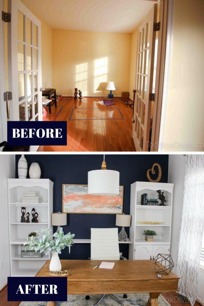 home office makeover on a budget diy home makeover ideas home decor office makeover home. Black Bedroom Furniture Sets. Home Design Ideas