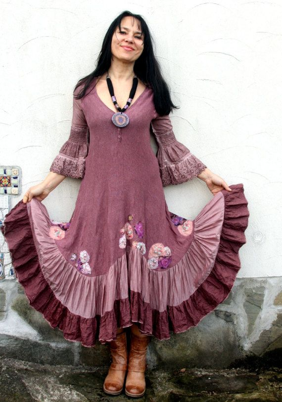 4d44648ccc49e M-L Shabby chic pastel pink long dress appliqued with India ...