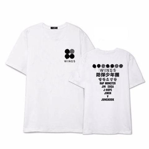 Bts Bangtan Boys Wings Album Boyband Kpop Cool Famous White T Shirt T Shirts K Idol Stuff Bts Wings T Shirt Shirts