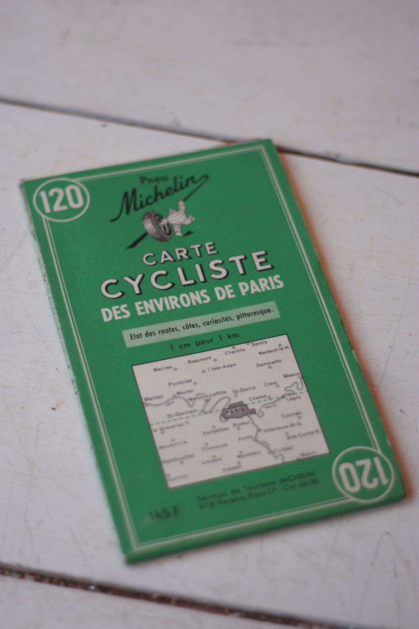 Vintage Official Michelin Map of the Cycling