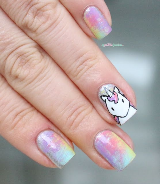 Paint All The Nails Presents Dry Brush ! kawaii unicorn rainbow dry brush nail  art - Paint All The Nails Presents Dry Brush ! Kawaii Unicorn Rainbow