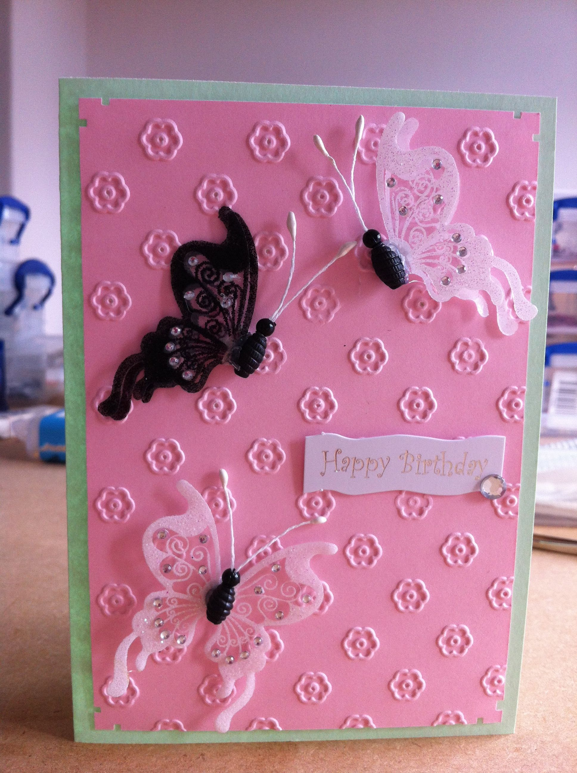 Card Making Ideas Using Cuttlebug Part - 27: Birthday Card - Female Using Cuttlebug Embossing Folder.