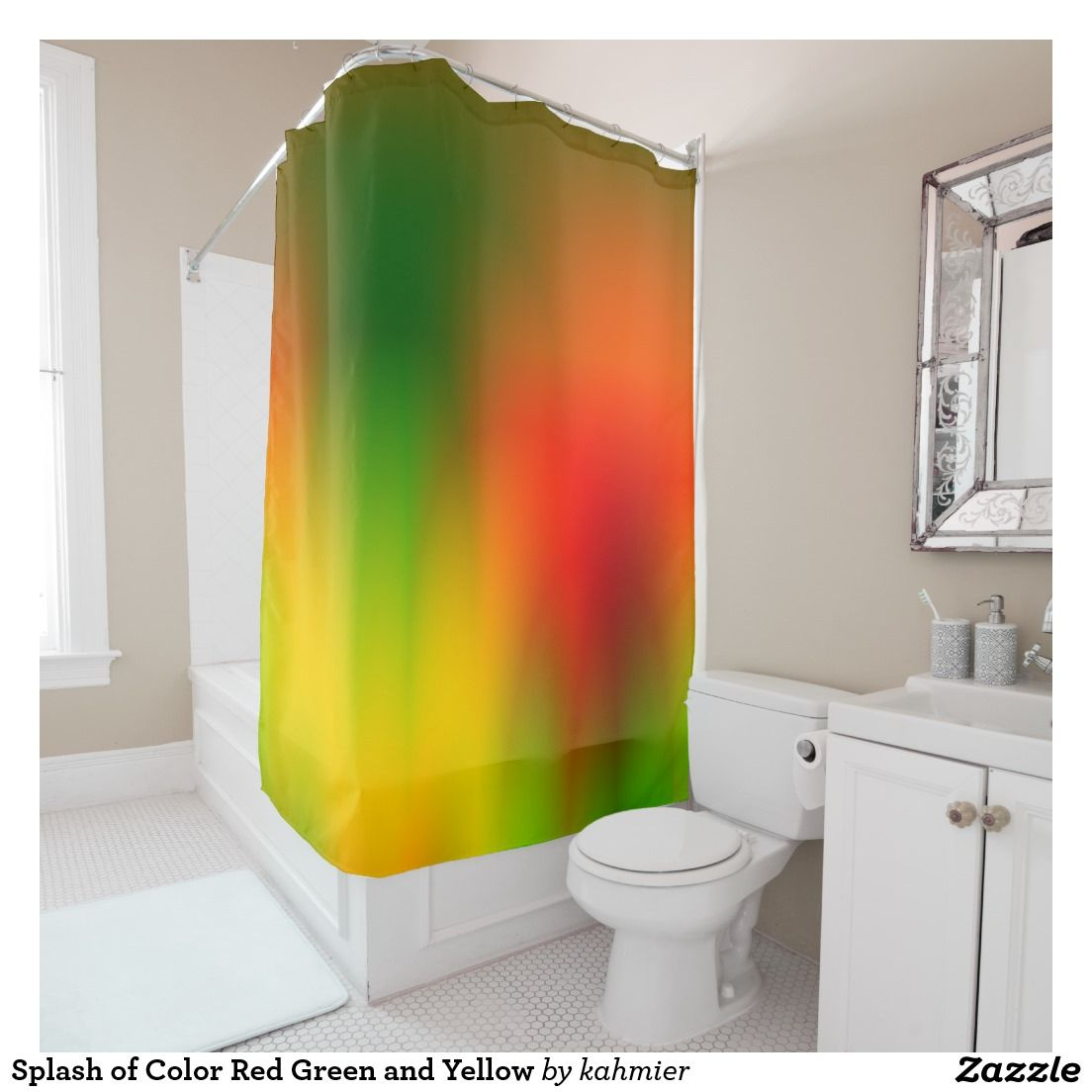 Splash Of Color Red Green And Yellow Shower Curtain Flash Sale 30 Off Zazzle