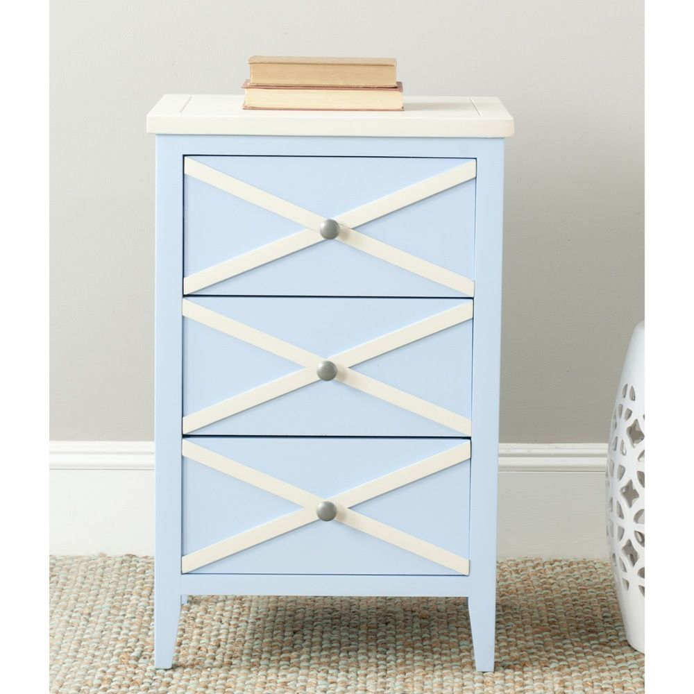 Side table with drawer  Safavieh Sherrilyn Light Blue Cream Storage drawer Side Table by