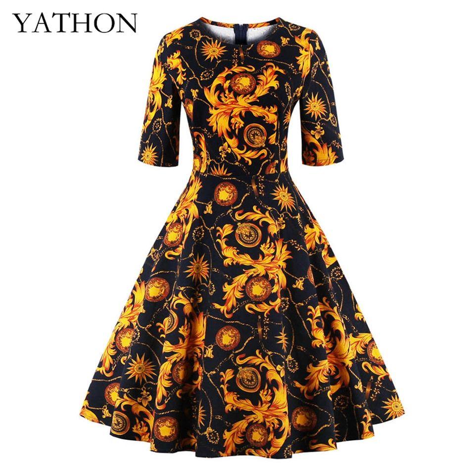Plus size sxl flower print vintage casual work dress womens retro