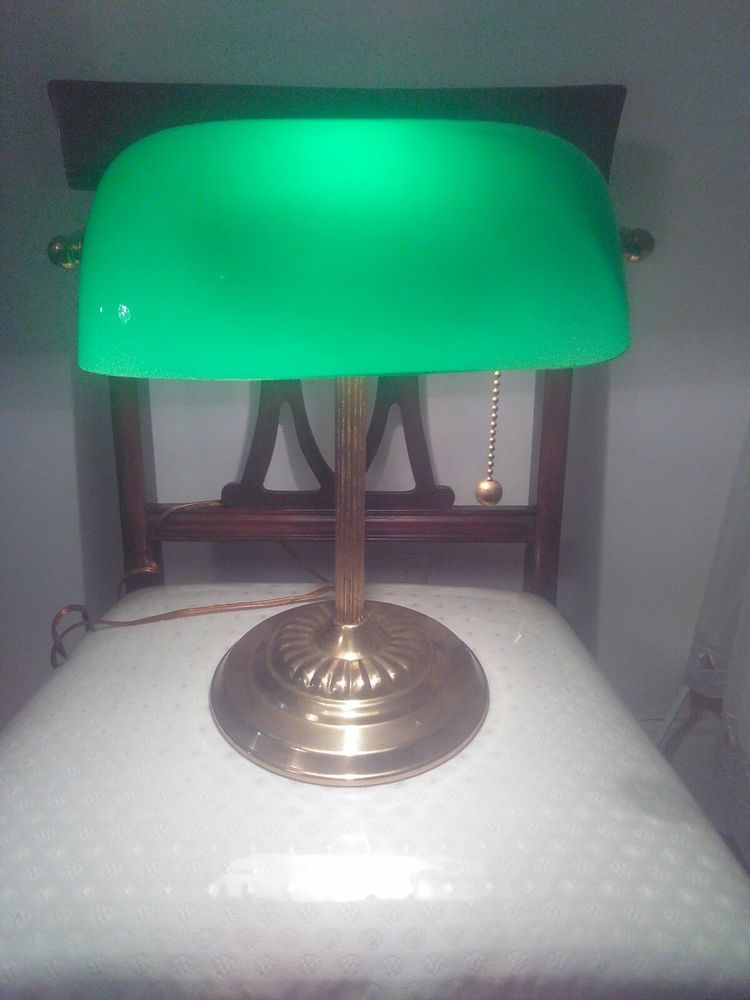Brass desk lamp green glass shade lawyer student great for the brass desk lamp green glass shade lawyer student great for the dorm or home aloadofball Choice Image
