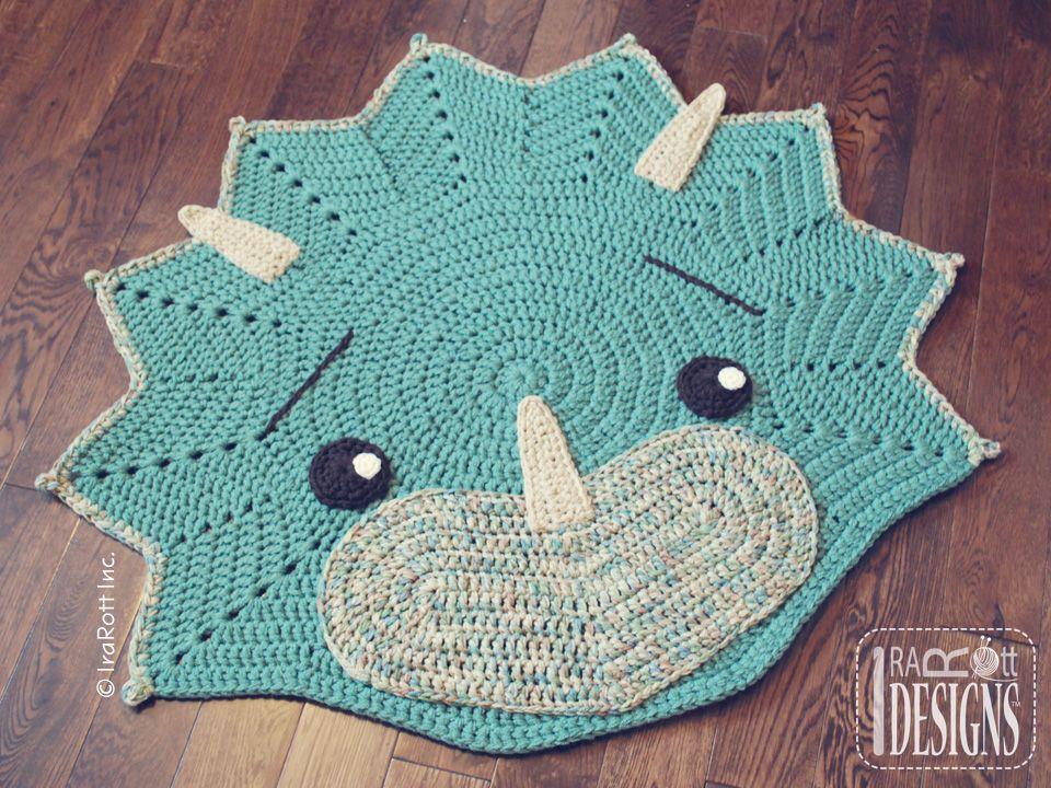 Dino Dinosaur Triceratops Rug Nursery Mat Crochet Pattern for Babies ...