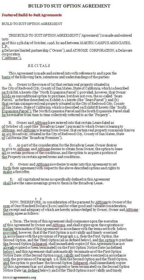 agreement sample build suit template agreements free non - contract template word