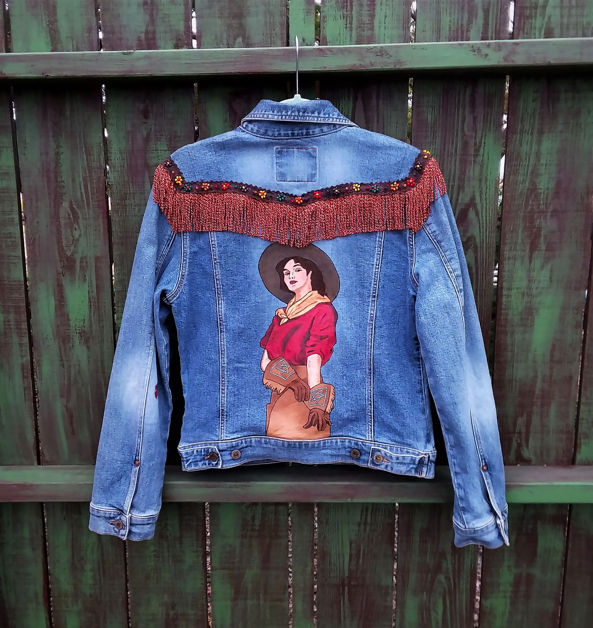 Hand Painted 1930 S Western Cowgirl Denim Jean Jacket With Fringe By Bleudoor On Instagram Embellished Jacket Jackets Painted Denim [ 2048 x 1932 Pixel ]