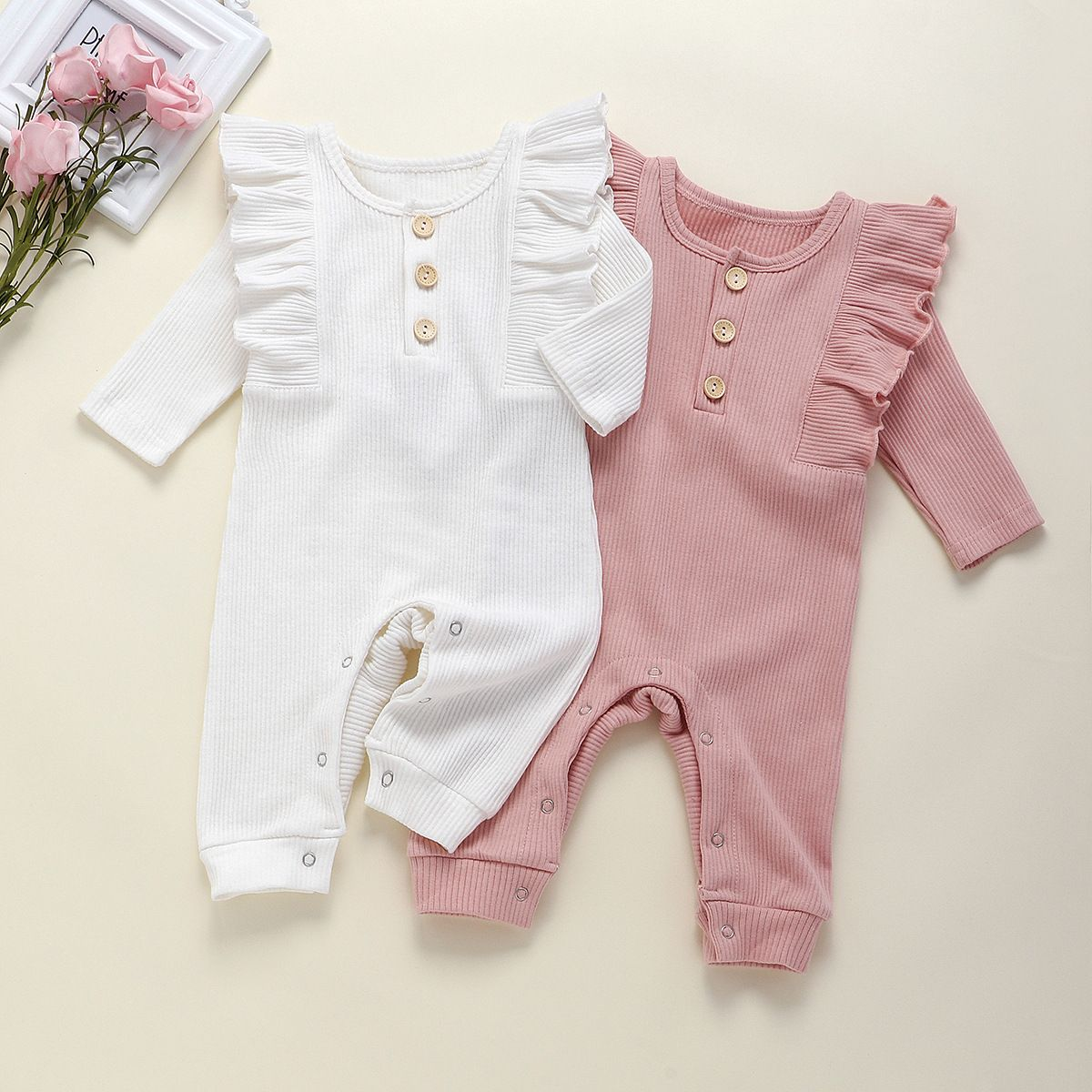 Baby Boys Clothing Newborn Baby Boys Girls Button Pure Color Romper Jumpsuit Outfits Set