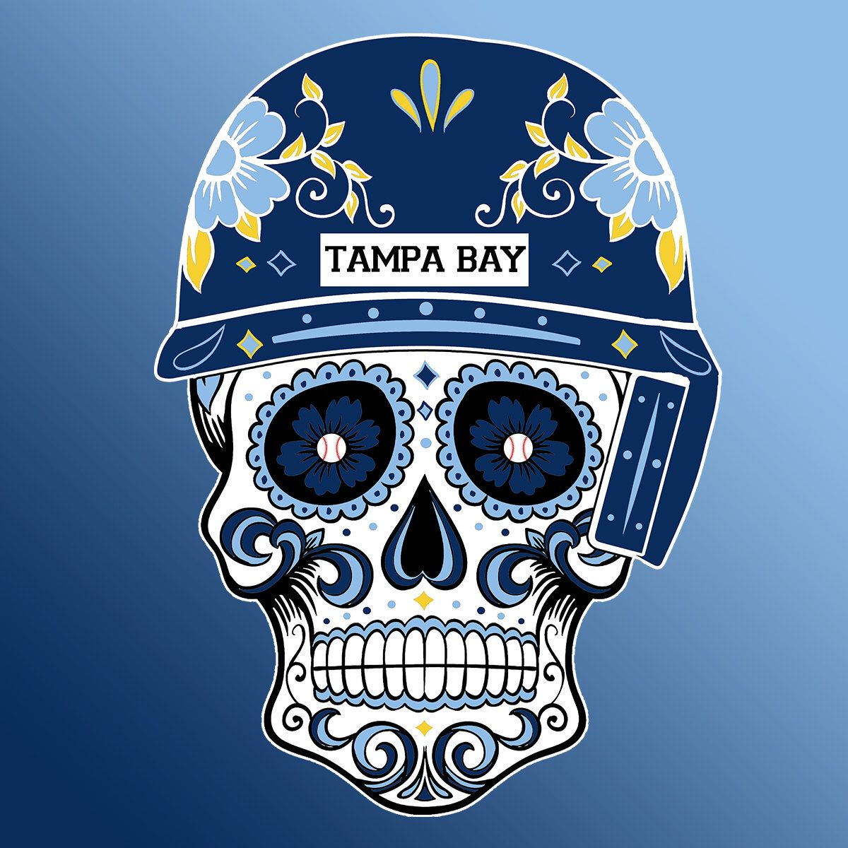 7a556418990 Tampa Bay Rays baseball Sugar Skull-MLB by CustomClothingShop on Etsy  https