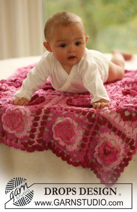Manta de bebé a ganchillo DROPS en Muskat Soft. Patrón gratuito de ...