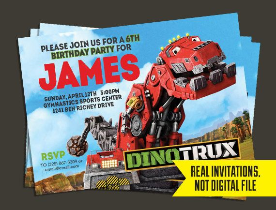 Printed 5x7 Dinotrux Invitation By 3rdstdesigns On Etsy