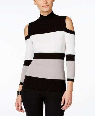 3700495a83b92b INC International Concepts Colorblocked Cold-Shoulder Sweater