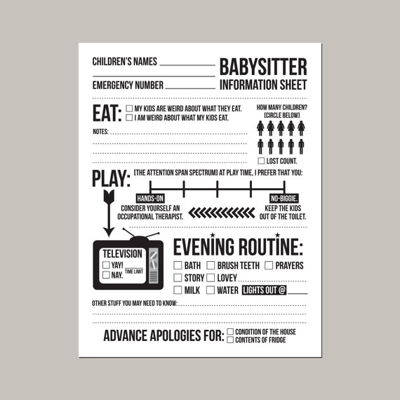 photograph regarding Babysitter Info Sheet Printable named instantaneous downloadable babysitter content material sheet (for