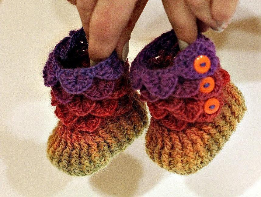 Botitas bebé puntada cocodrilo | Crochet | Pinterest | Cocodrilos ...