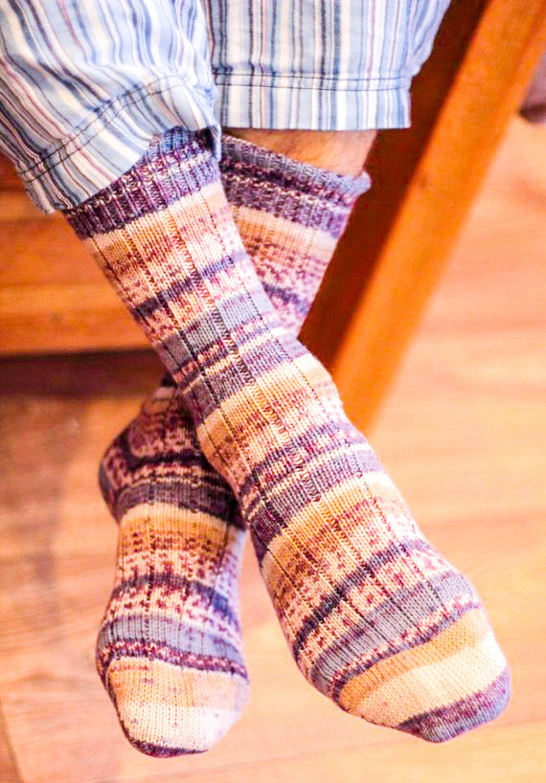 Striped FAIR ISLE Dress Socks Beige Blue Plum Rugged