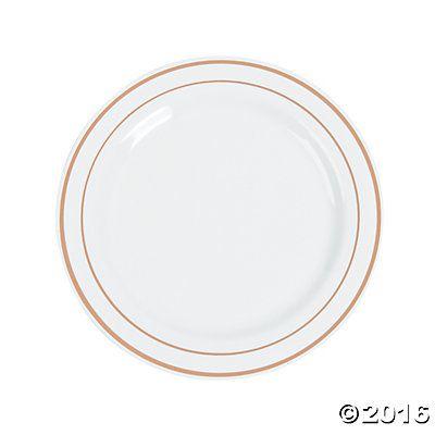 White Premium Plastic Dinner Plates with Rose Gold Edging  sc 1 st  Pinterest & White Premium Plastic Dinner Plates with Rose Gold Edging | White ...