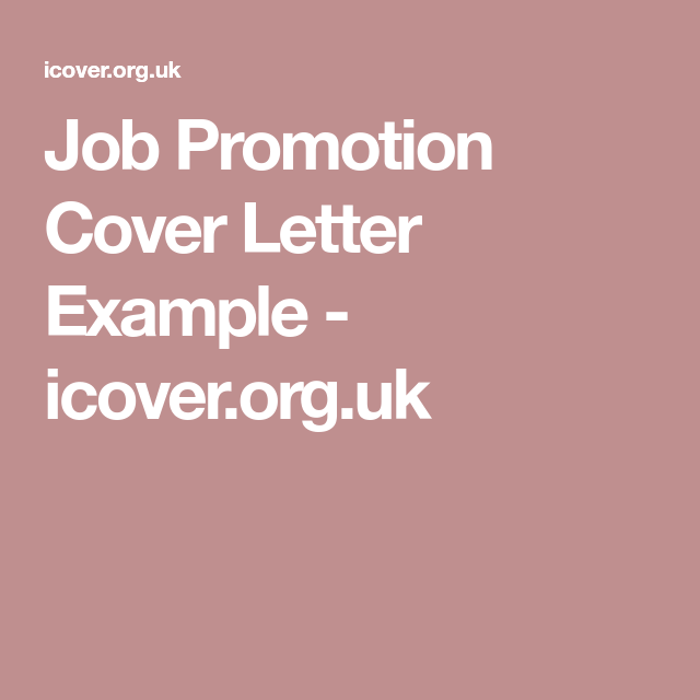 Job Promotion Cover Letter Example  IcoverOrgUk  Career