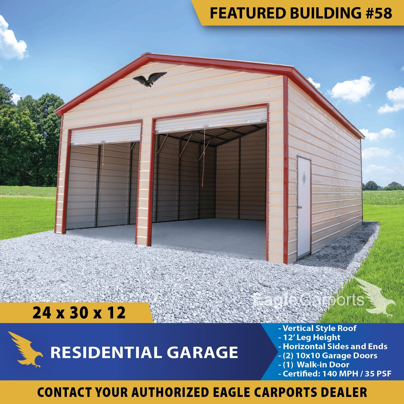 24x30x12 Residental Garage Is Built With 12 Side Leg Height 2 10x10 Garage Doors 1 Walk In Door Concrete Ancho In 2020 Portable Buildings Building Garage Doors