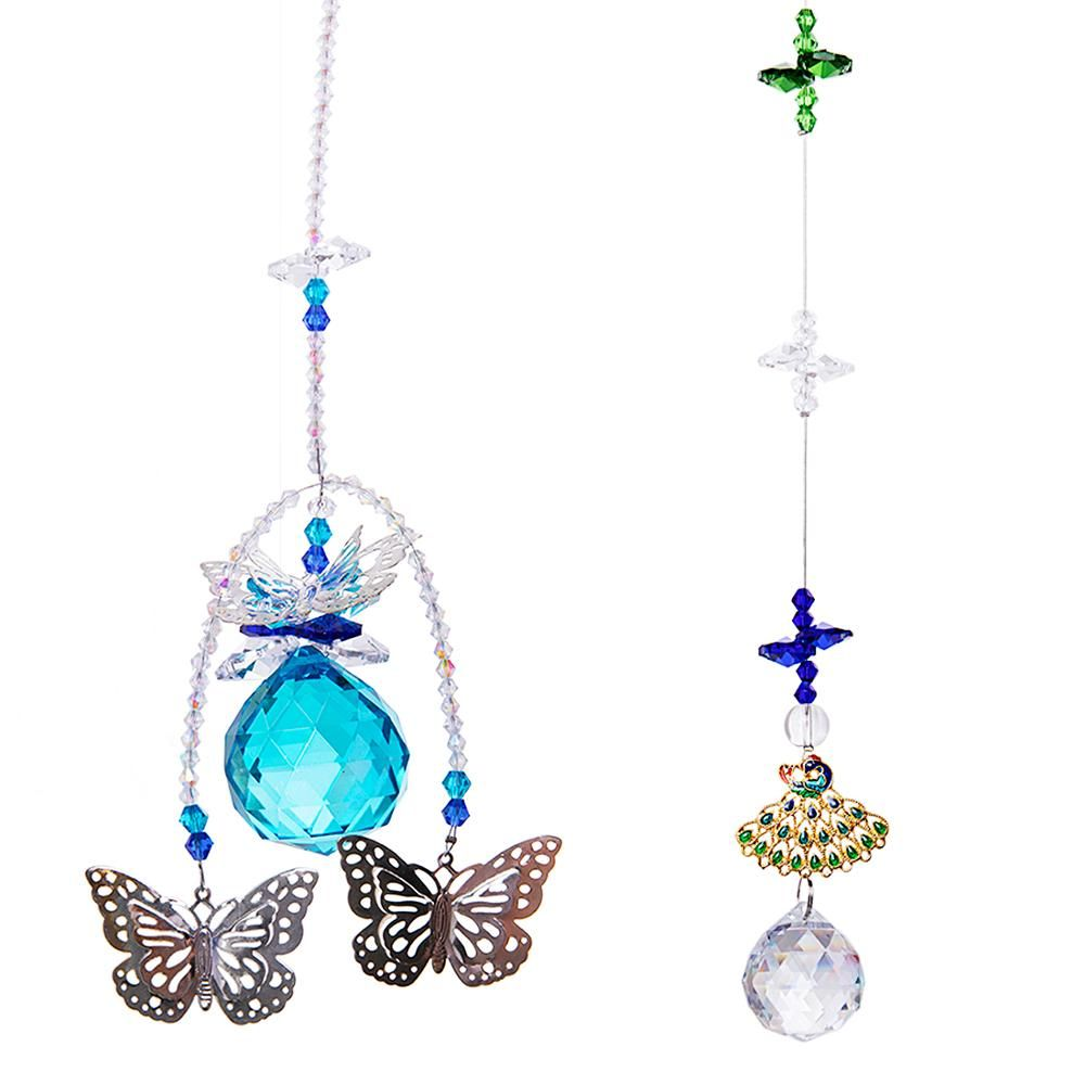 Crystals Ball Prisms Butterfly Peacock Suncatcher Window Hanging Ornament Rainbow Maker For Home Garden Dec Crystal Suncatchers Hanging Ornaments Rainbow Maker
