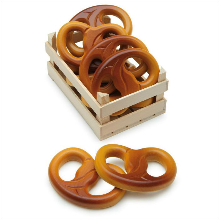 erzi wooden play food pretzel realistic toy food kitchen bakers shop role play on
