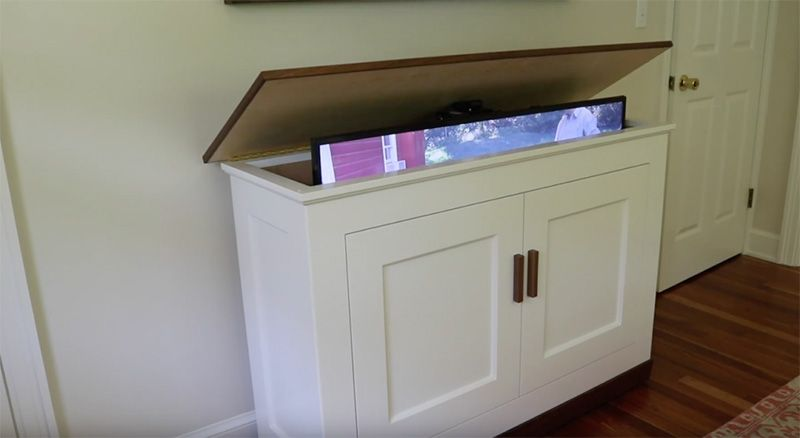 Build A Tv Lift Cabinet Free Design Plans Jon Peters Art Home Tv Lift Cabinet Tv Cabinet Design Woodworking Plans Storage