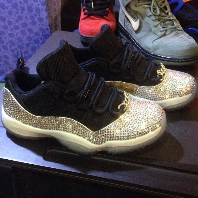 At sneaker con Houston there were tons of custom shoes. These Air Jordan 11  Low Bling caught our attention as it was spotted on a table. N.. b0e644ad53