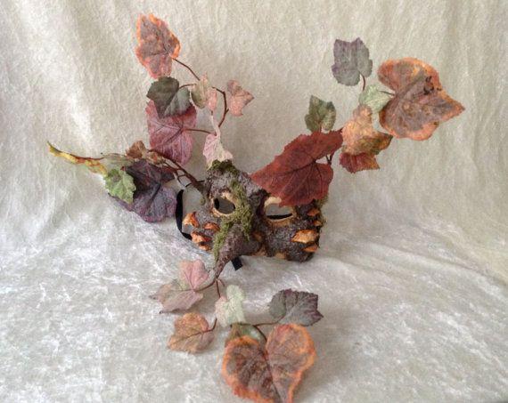 Half masker: 'Vrolijke bladeren' boommasker met door TheaterDidymus