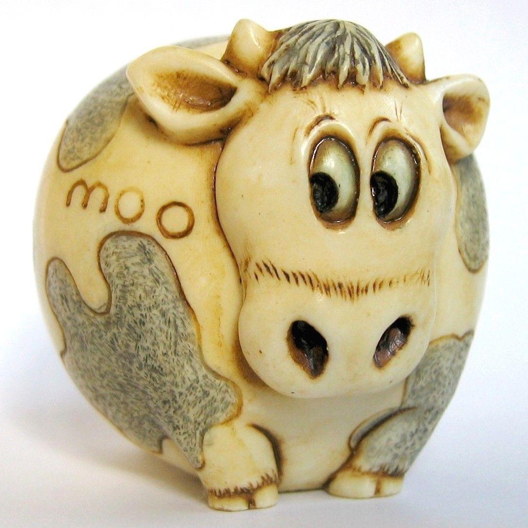 Farmyard Cow Figurine Heffie Pot Bellys and Oddbods