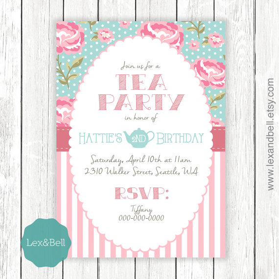 Shabby Chic Tea Party Birthday Invitation Any Age  Party Packages