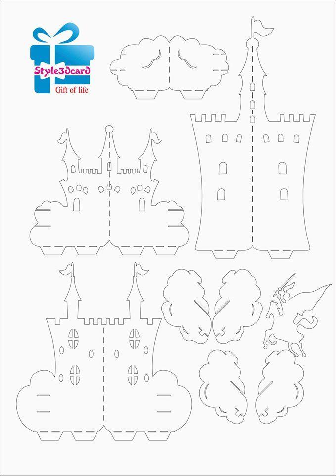 Castle 3d Pop Up Card Pattern 1 Pop Up Kirigami Patterns Thiệp