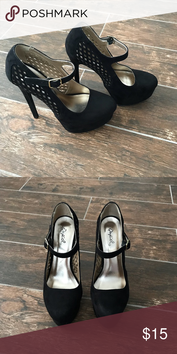 579d532aade5 Perforated Platform Heel 👠 Black suede ankle strap heels from Charlotte  Russe. Comes with original box. Charlotte Russe Shoes Heels