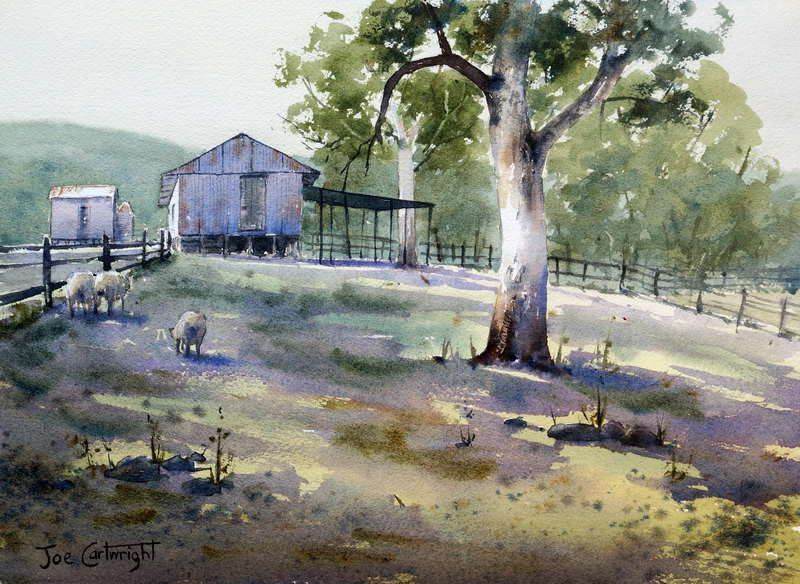 Watercolor Shed in the morning by Joe Cartwright