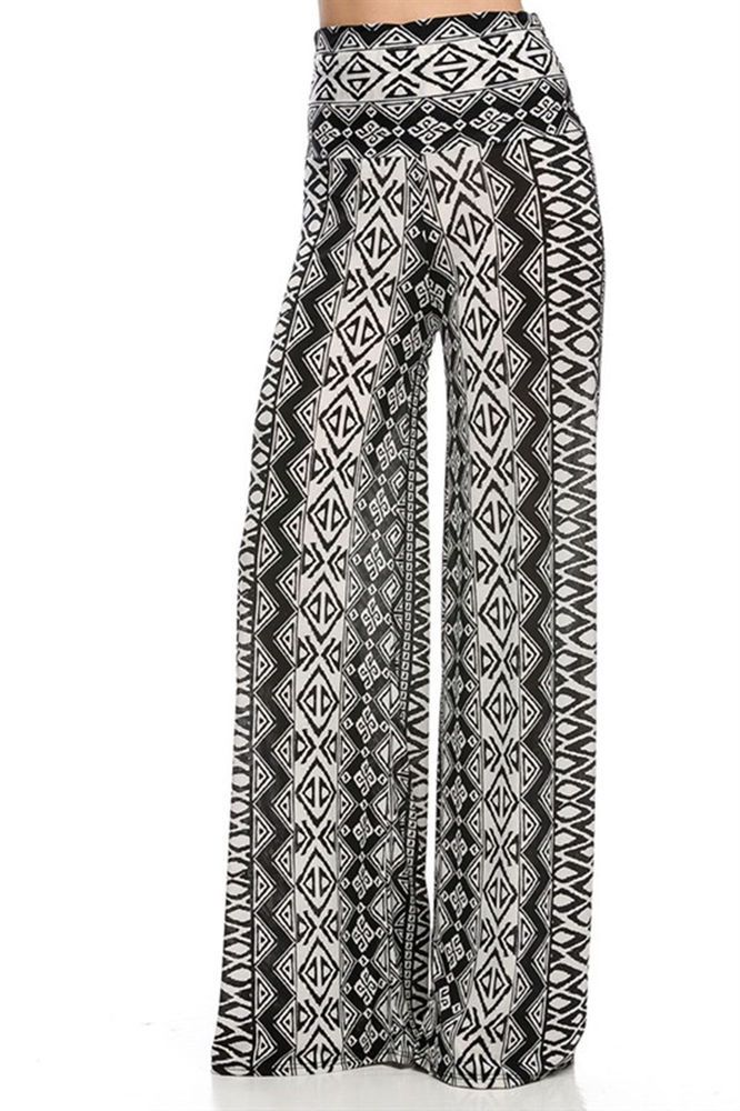 3ab70d2ce76 Cowgirl Yoga Gypsy AZTEC Black white Tribal PALAZZO PANTS Leggings Fold  Over M  superline  Palazzo