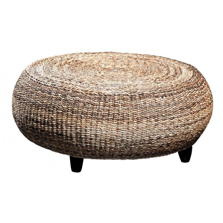 Cool St Barts Woven Ottoman Coffee Table Hand Roped Banana Leaf Gmtry Best Dining Table And Chair Ideas Images Gmtryco