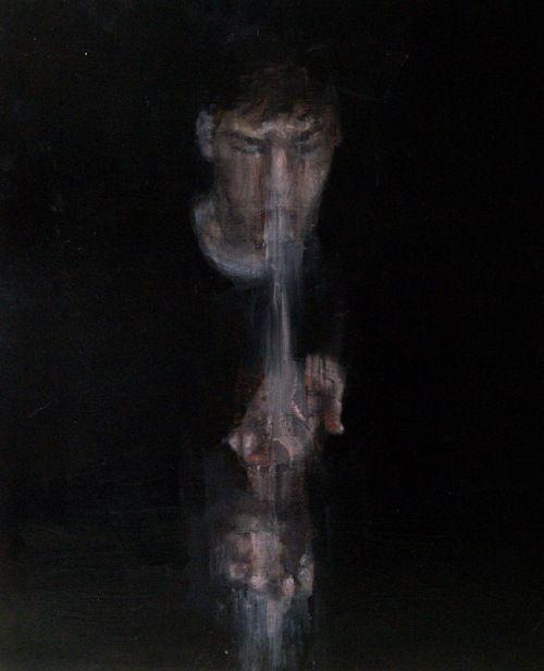 "#Tyler D Graffam #self portrait with melt  24x30"" oil on wood  http://tylerdgraffam.tumblr.com"