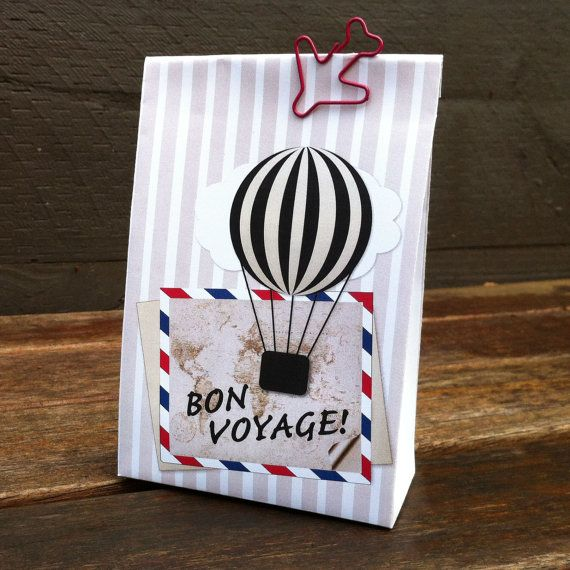 Bon Voyage Gift Bag Template, create beautiful bags from a folded