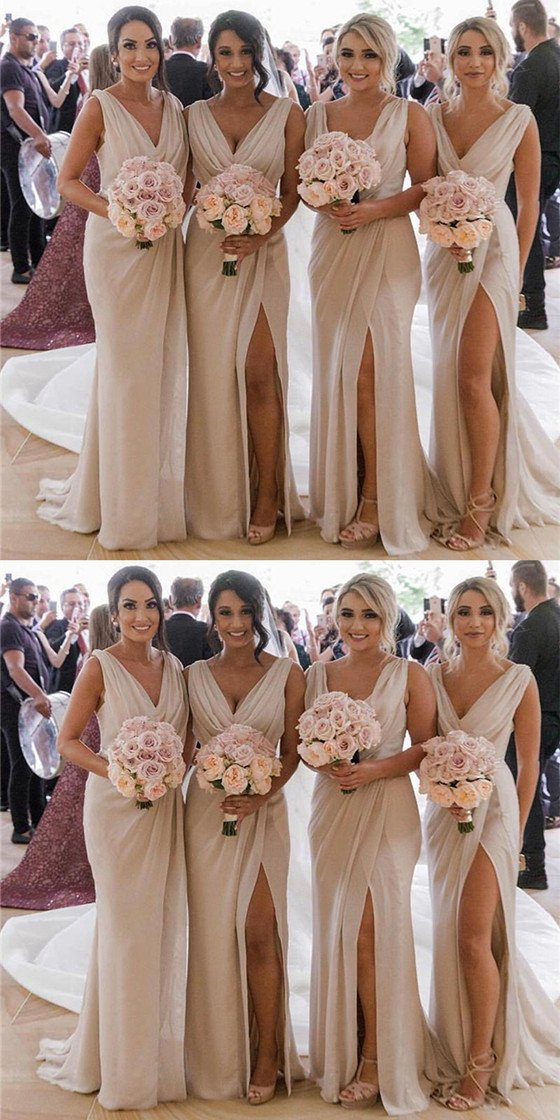 Mermaid V Neck High Split Cheap Bridesmaid Dresses With Pleats d54215e5c971