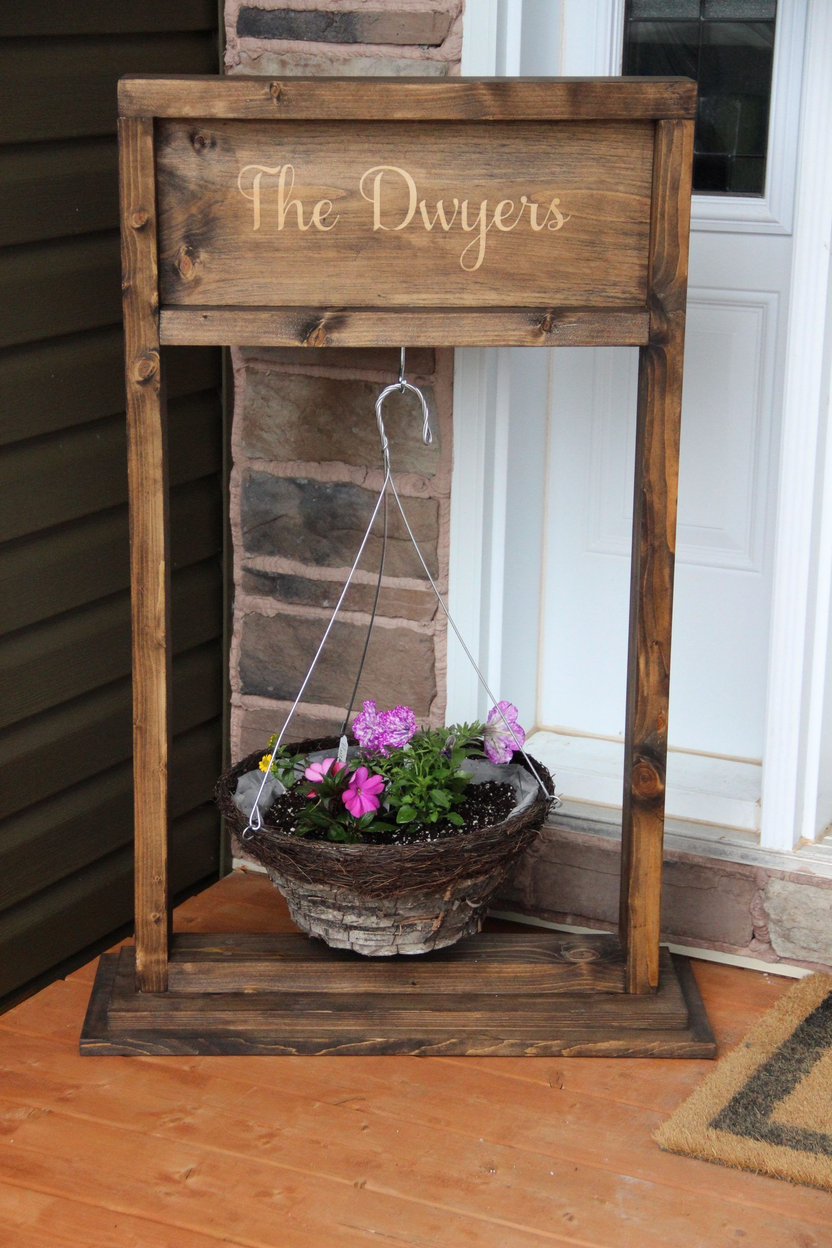 Free DIY tutorial to build a wooden hanging plant stand# ... on Hanging Stand For Plants  id=42963