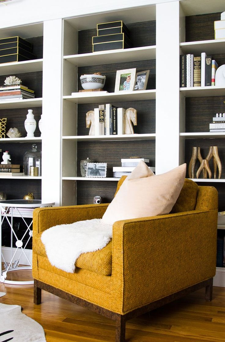 An Interior Stylist's Glam Midwest Remodel is part of Living Room Shelves Gold - When One Kings Lane wants to feature your home, you know you've done something right! The story of Kristin Cadwallader's home is