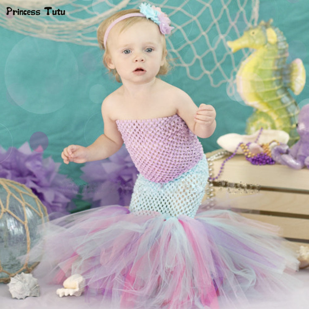 24.70$ Watch now - Infant Toddler Baby Girl Mermaid Fishtail Tutu ...