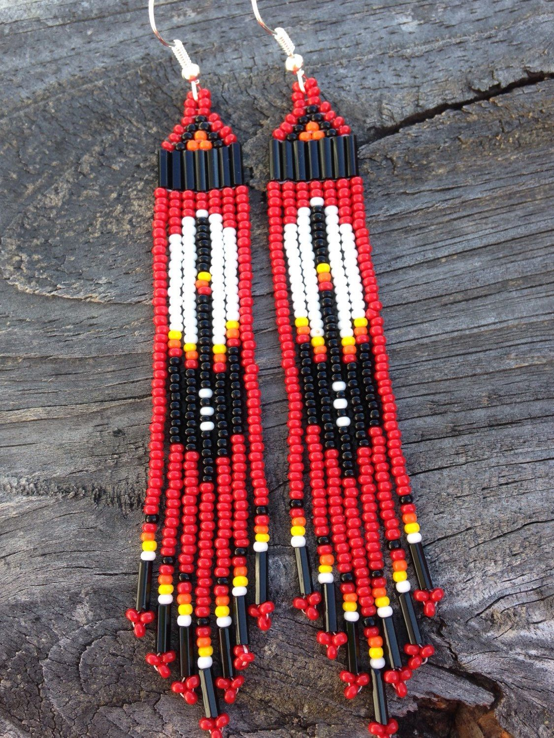 Native American Style Red Beaded Eagle Feather Earrings