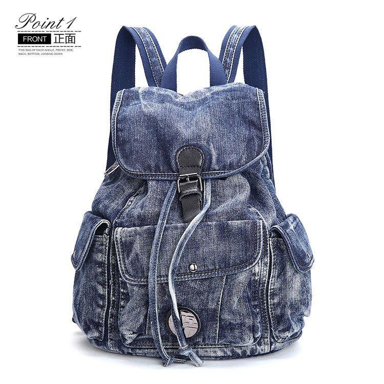 Barato De alta qualidade mulheres mochila do vintage calça jeans legal  mochilas para meninas adolescentes homem 7ac539368d