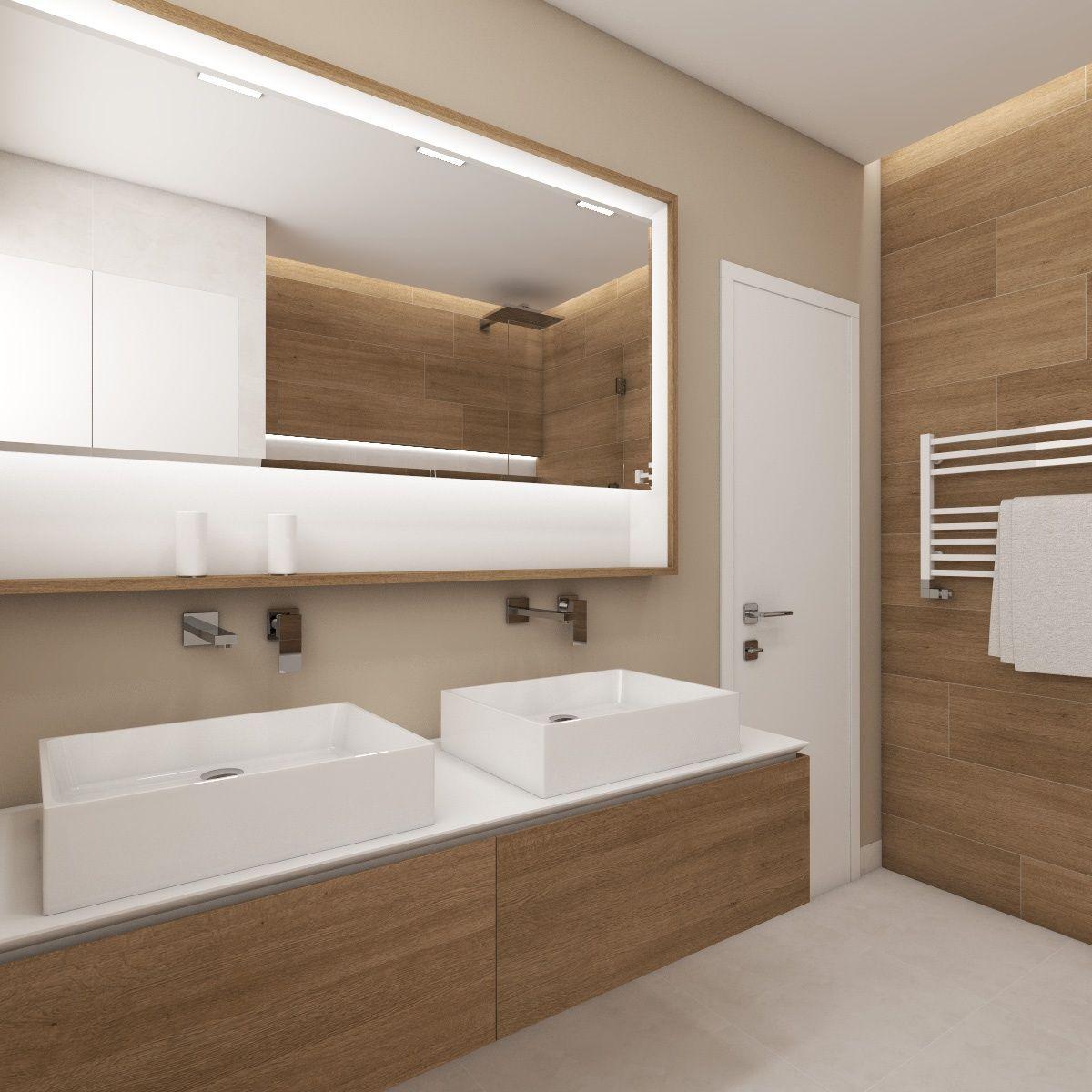 Badezimmer Weiß Beige | Goldener Badezimmerinnenraum Mit Hölzernem ...