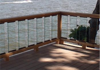 Glass panels glass balusters glass railings for deck for Garden decking glass panels