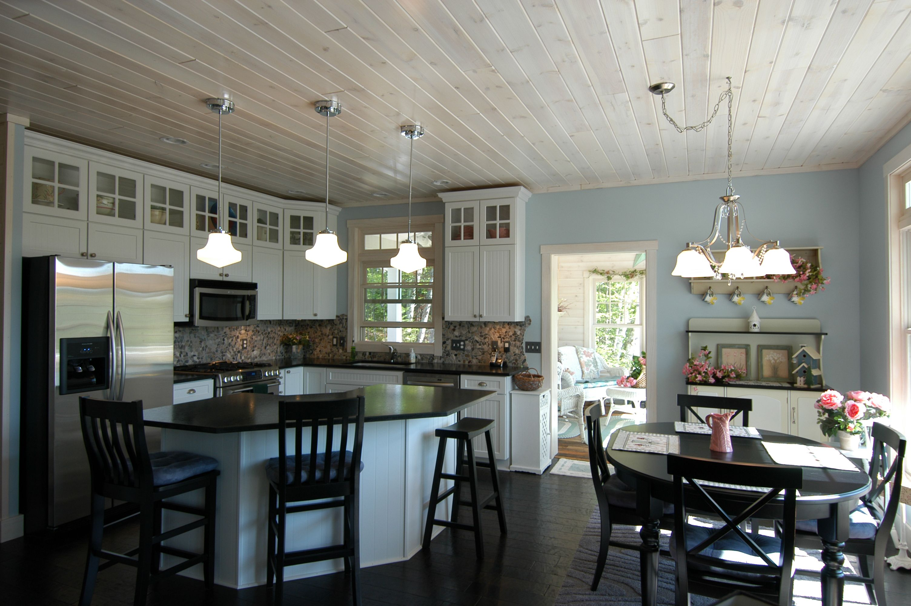 White Washed Pine Ceiling White Wash Ceiling Kitchen