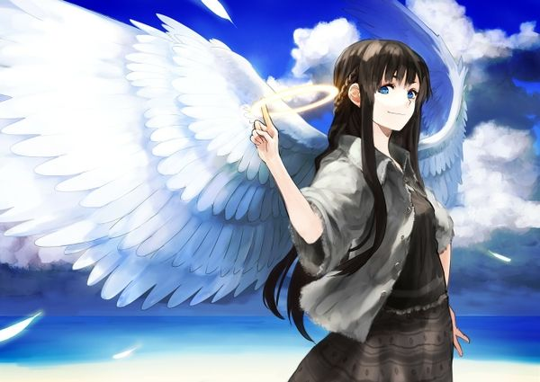 anime girl angel with brown hair wwwpixsharkcom