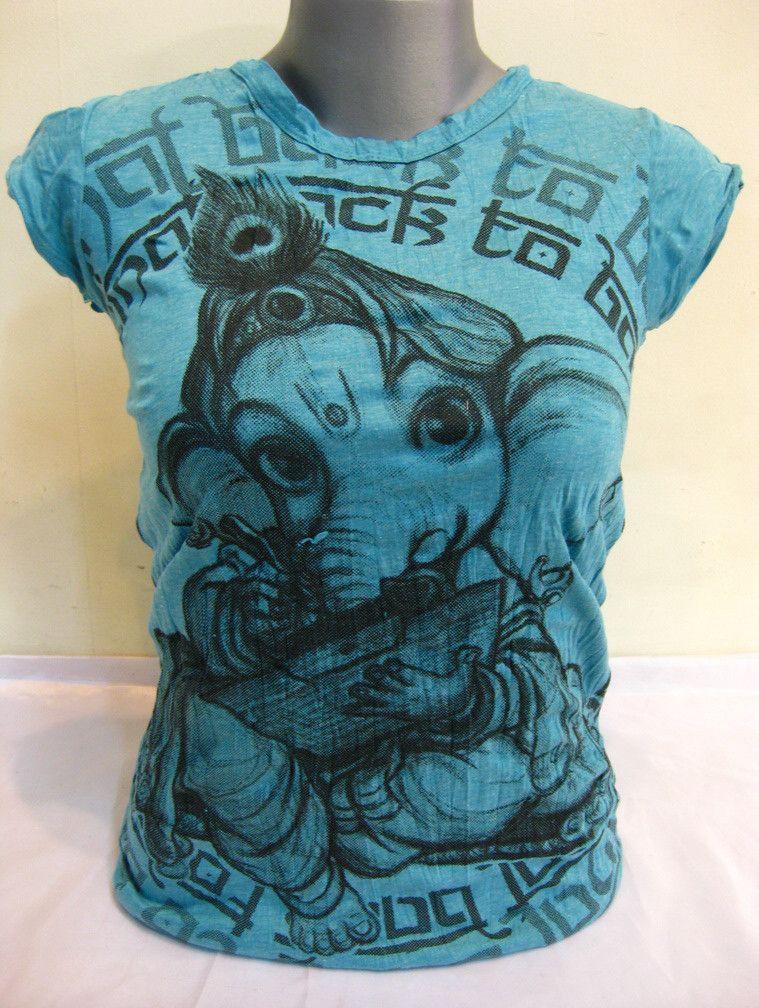 Sure Design Womens Baby Ganesh T-Shirt Turquoise $17.50 at http://www.suredesigntshirts.com