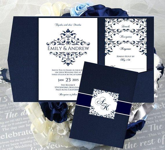 Beautiful Vintage Design VICTORIAN FRAME Wedding Pocket Invitation  Templates Printable Navy Blue INSTANT Download   Order